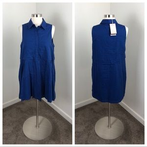 Zara Trafaluc fit & flare blue collared dress